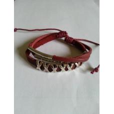 Läder armband röd, silver