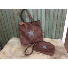 Väska set med stjärna brun